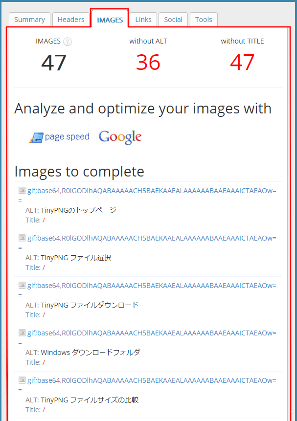 SEO META in 1 CLICK Imagesタブ