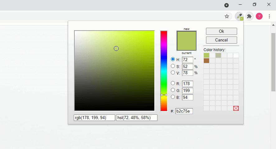 ColorZillaのColor Picker