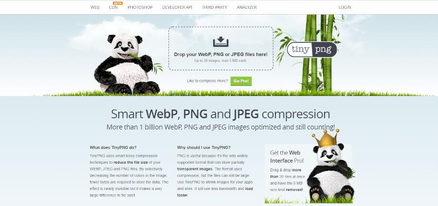 TinyPNG トップページ